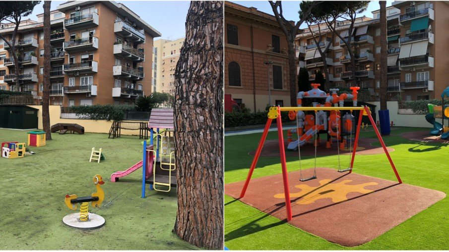 Playground con area giochi a Roma